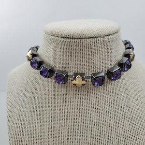 Steve Madden Choker Necklace Purple Rhinestone Gol
